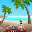 Classic Car At The Beach - Foto Stock