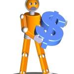 Robot holding dollar — Stock Photo