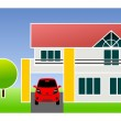 Single family home with car — Stock Photo