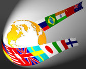 Globe and flag — Stock Photo