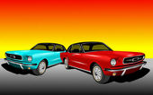 Red and Cyan Mustang — Stock Photo