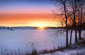 Coucher du soleil d'hiver — Photo