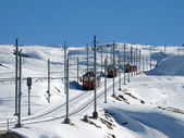 Trains in the alps — Stock Photo