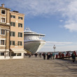 Stock Photo: A big cruiser boat docked in Venice, Italy,