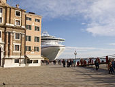 A big cruiser boat docked in Venice, Italy, — Stock Photo