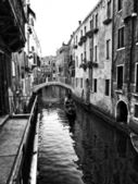 Venice canal in black and white — Stock Photo