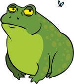 Grumpy fat frog cartoon character — Stock Vector