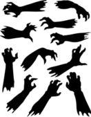 Zombie terror manos siluetas conjunto. — Vector de stock