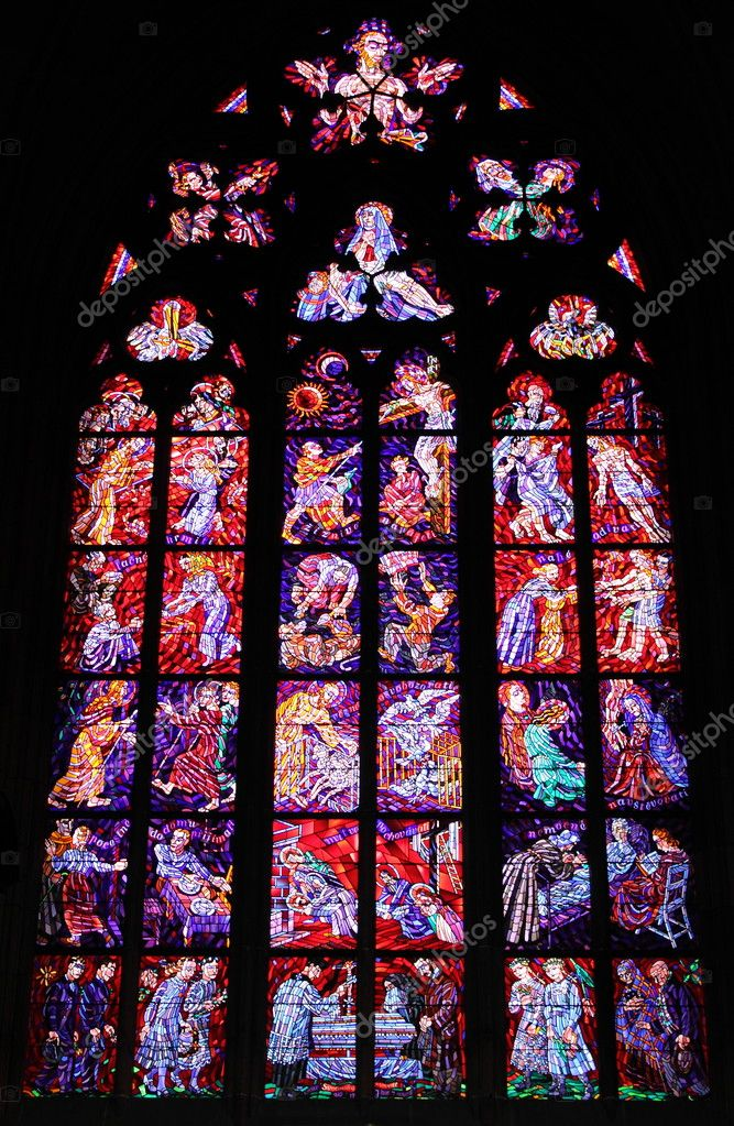 Stained glass window with catholic scenes — Stock Photo #6821893