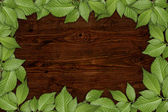 Old wooden background with floral frame — Stock Photo