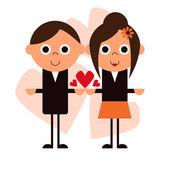Happy cartoon couple illustration — Stock Vector
