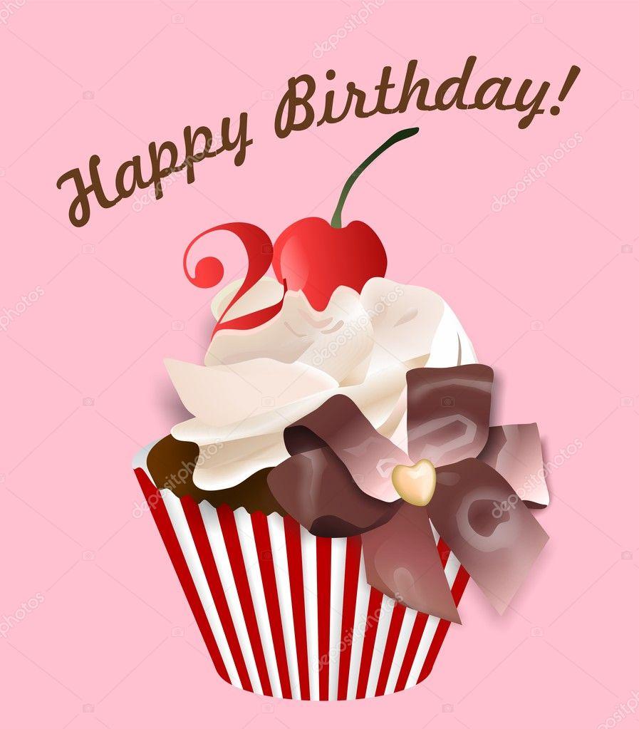 Carte postale joyeux anniversaire de 20 ans — Image vectorielle #7337377