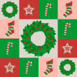 Stock Vector: Seamless pattern with xmas attributes
