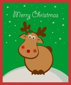 Christmas card with deer — Stock Vector