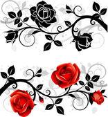 орнамент с розами — Cтоковый вектор