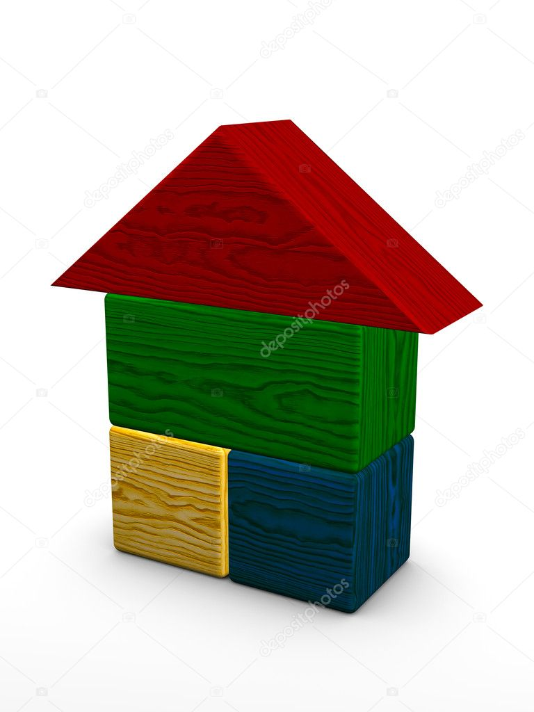 Color house toy on white background  Stock Photo #7249580