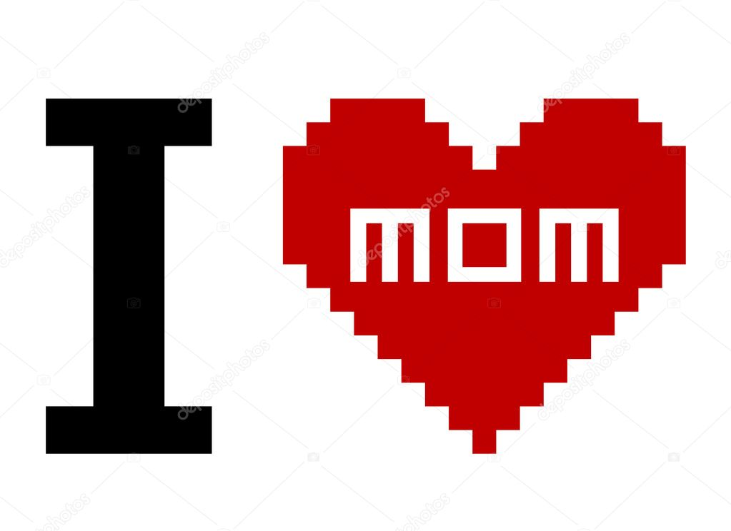 Day Mother - Pixel Art — Stock Vector #6990364