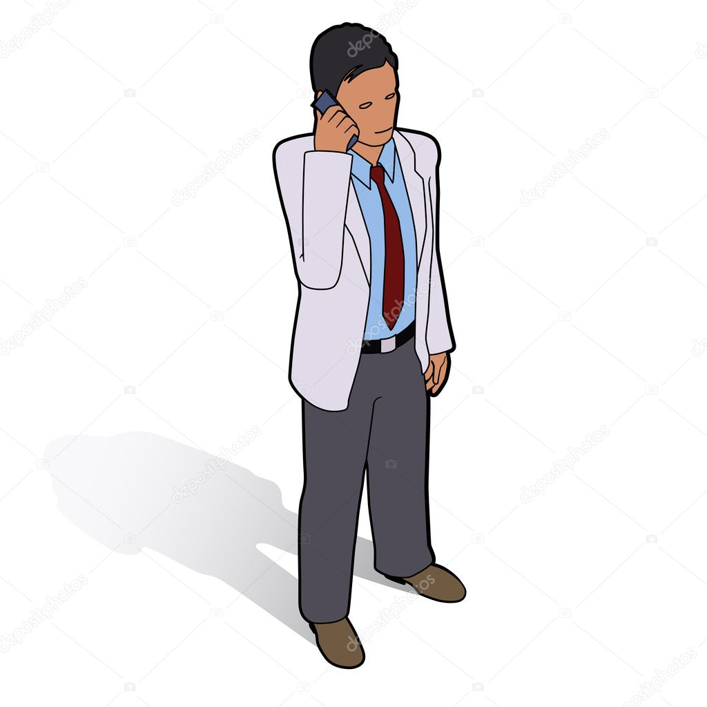 Isometric man with phone  Stock Vector #7509578