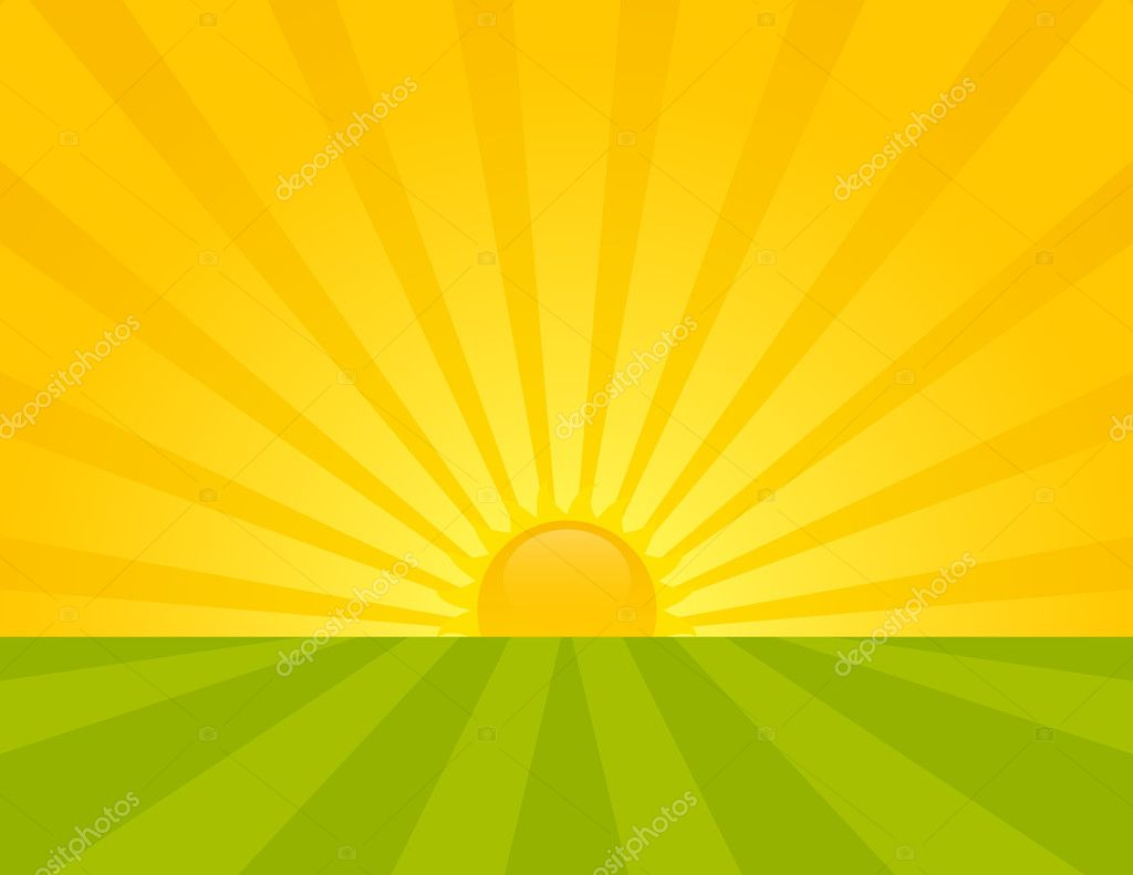 Sunrise on the countryside. Summer sunny day. — Stock Vector #6864420