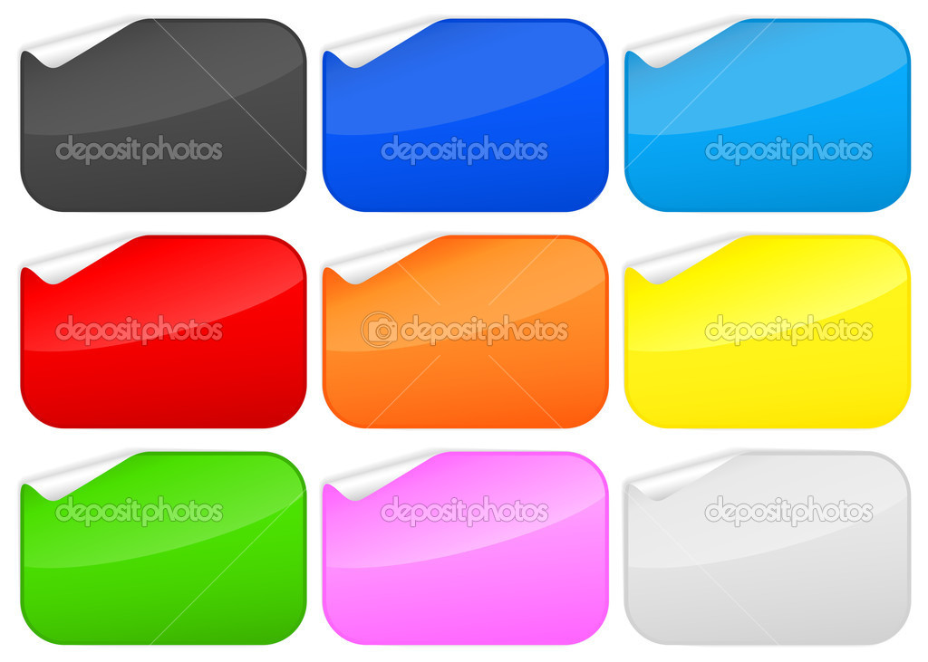 Peeled rounded rectangles stickers collection. — Stock Vector #6869003