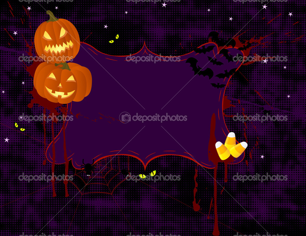 Spooky halloween background with banner. — Stock Vector #6946161