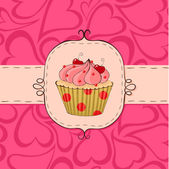 Pinky cupcake — Stock Vector