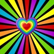 Rainbow heart background. - Stok Vektör