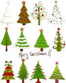 Conjunto de árvore de Natal — Vetor de Stock