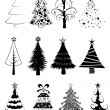 Stock Vector: Christmas trees set -B&W-