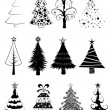 Christmas trees set -B&W- — Stock Vector #7523459