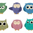 Owls set — Stock Vector