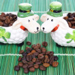 Coffee beans and shamrock — Stock Photo