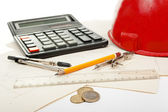 Architectural tools and money — Stock Photo