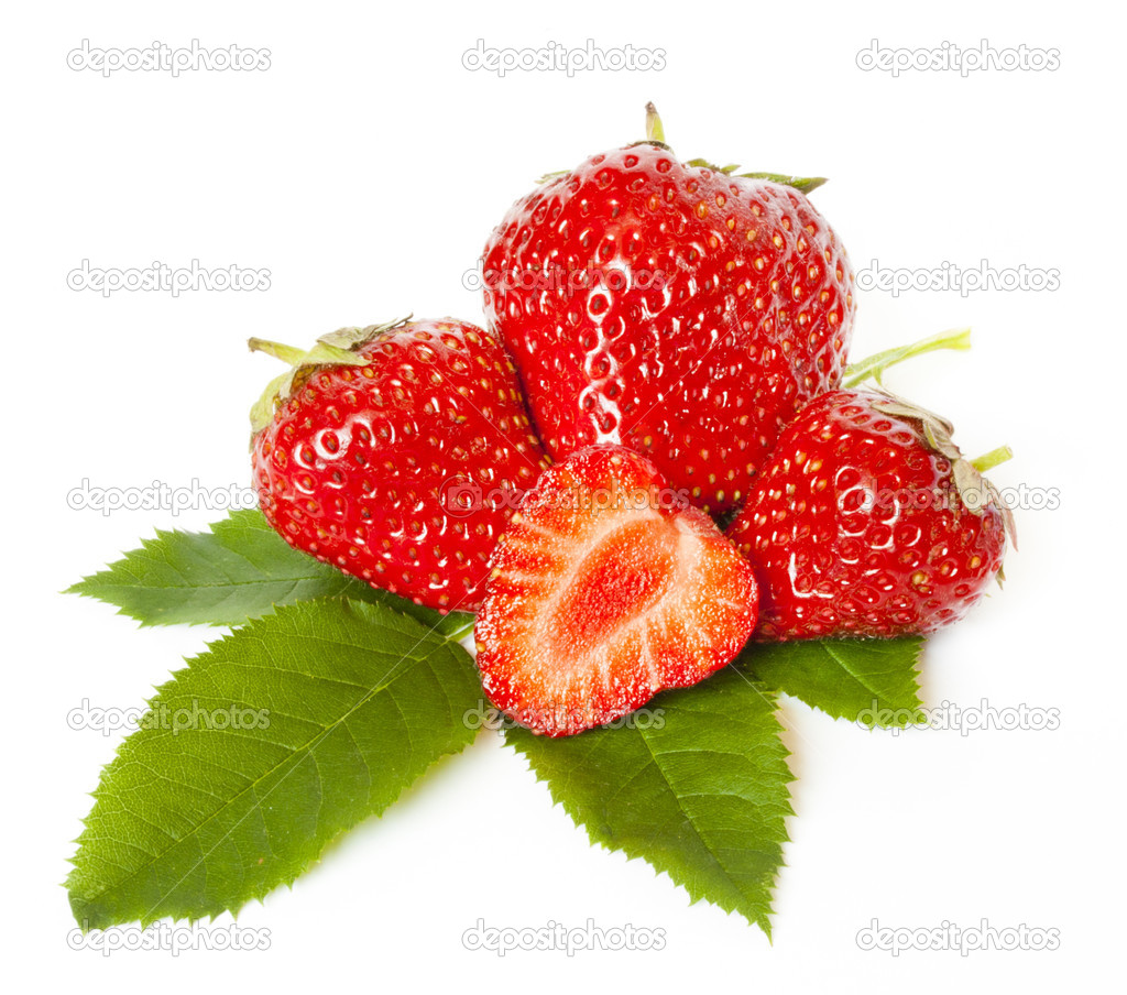Group of the red strawberries isolated on white — Stock Photo #6765560