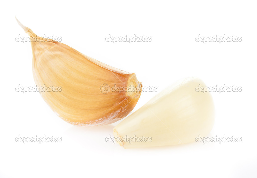 Fragrant garlic cloves on white background  Stock Photo #6887915