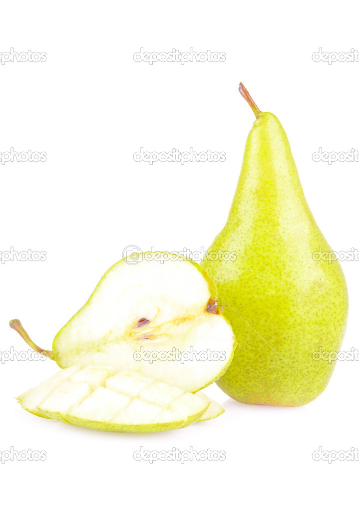 Juicy sliced pears isolated on white background — Stock Photo #6887939