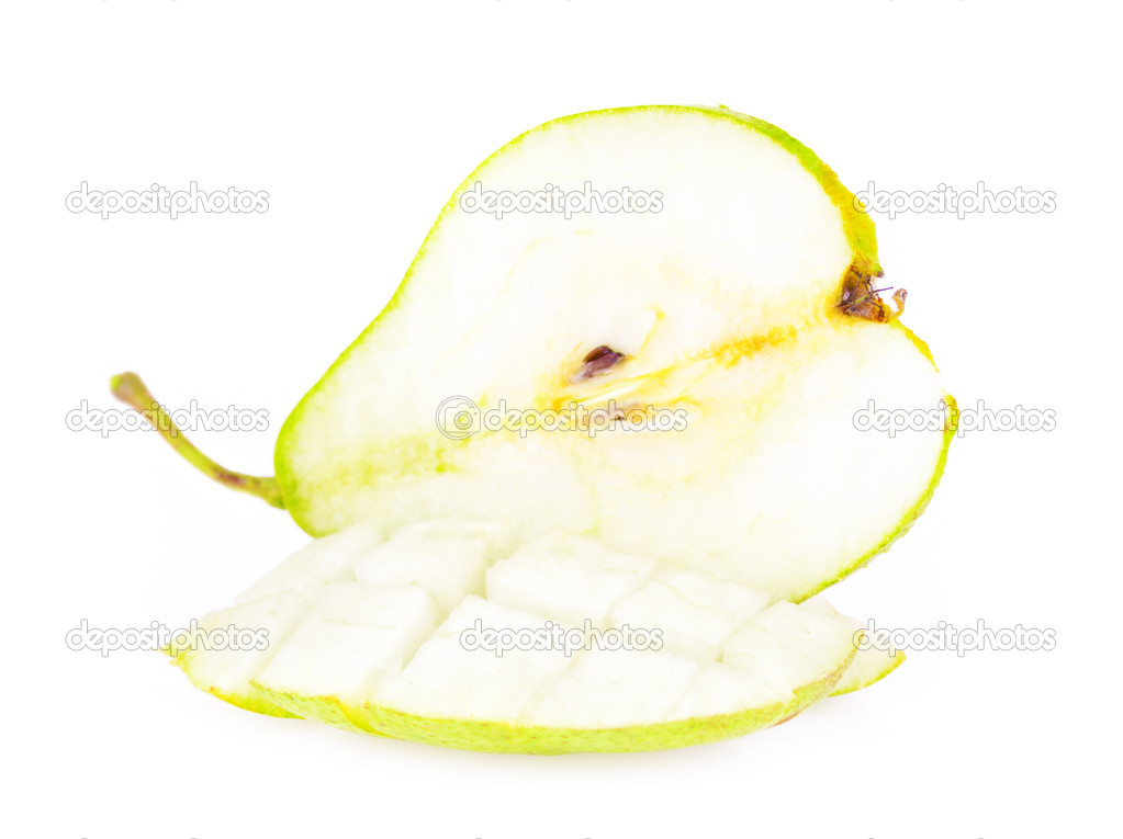 Juicy sliced pears isolated on white background — Stock Photo #6887943