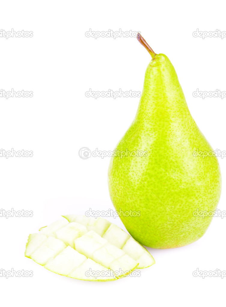 Juicy sliced pears isolated on white background — Stock Photo #6887946