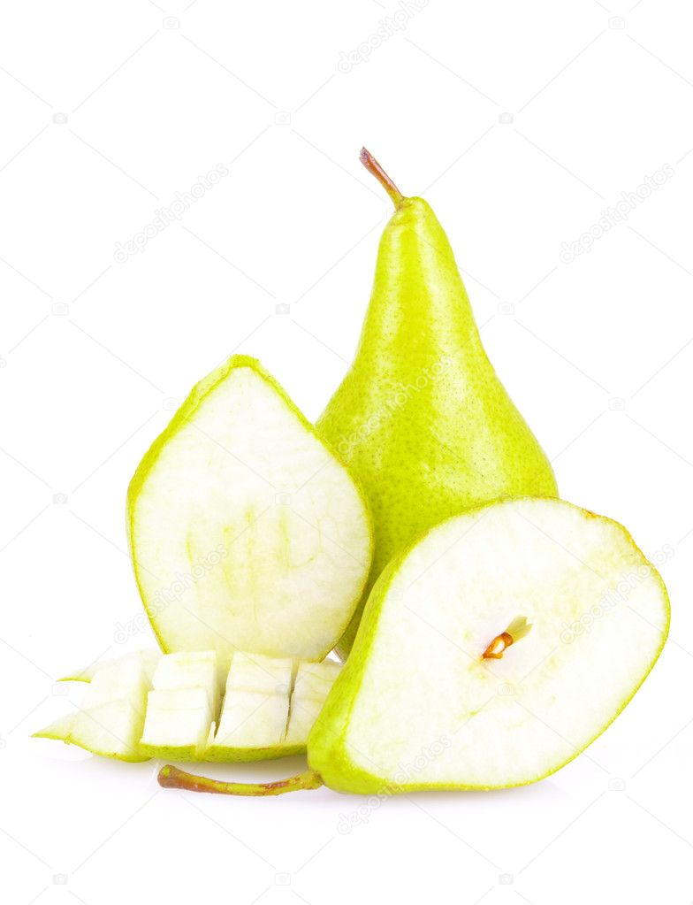 Juicy sliced pears isolated on white background — Stockfoto #6887951