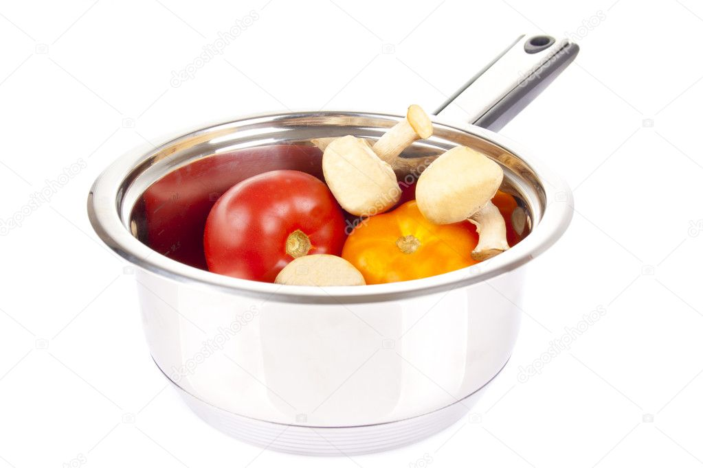 Juicy tomatoes and champignon in the pan — Stock Photo #6887980