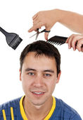 Man hair cut at the hairdresser — Stock Photo