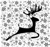 Deer on the snow flakes — Stock Vector