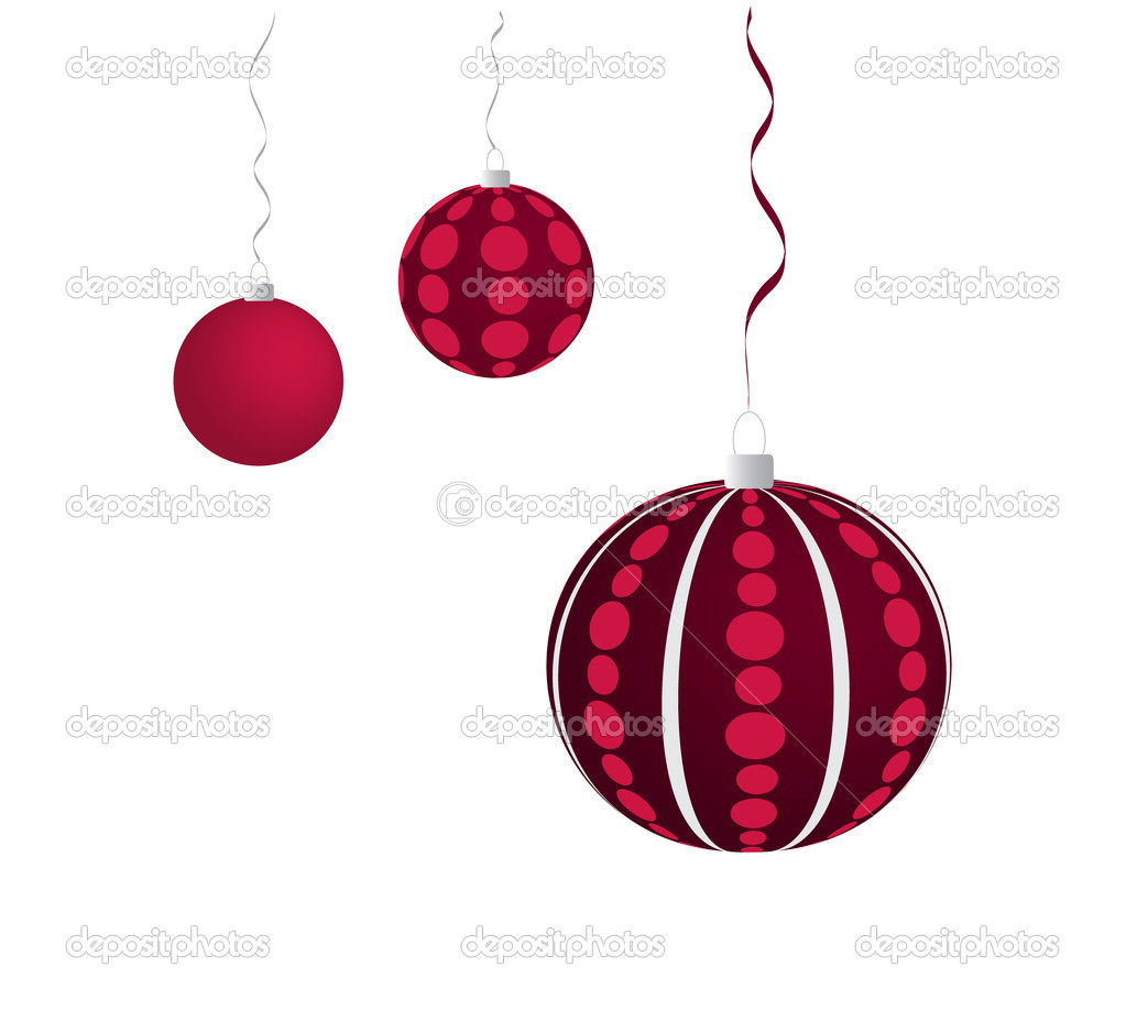 Three violet dotted christmas balls hanging on the grey and violet ribbon — Stock Vector #6868586