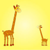 Big and small giraffe on the yellow background — Stock Vector