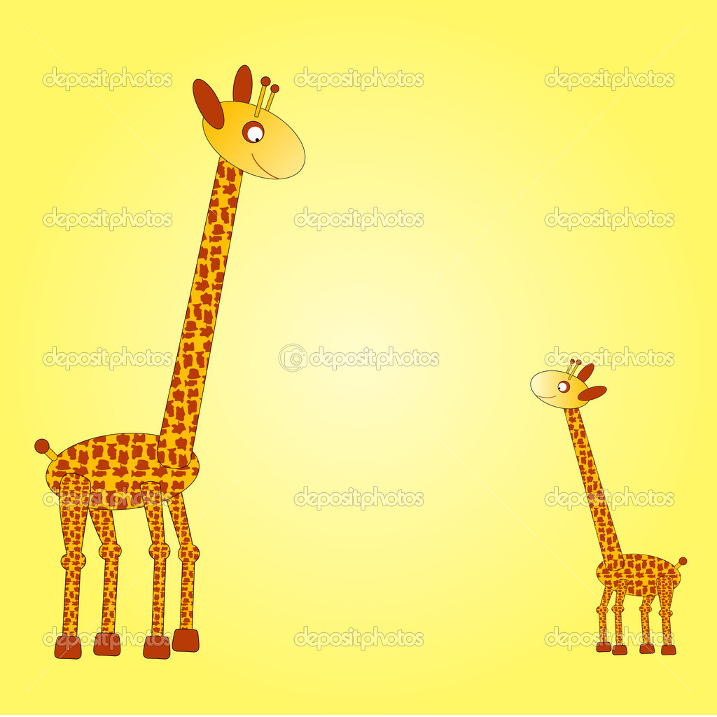Big giraffe on the left side watching down on the small giraffe at the right side of a yellow background — Stock Vector #6976721
