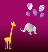 Giraffe andelephant with party balloons on the dark violet background — Stock Vector
