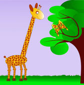 Giraffe and her butterfly sibling — Stock Vector