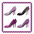 Four pairs of shoes framed by violate lace — Stock Vector