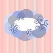 Telaio nuvole e turbinii sullo sfondo rosa con strisce — Vettoriale Stock