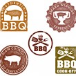 Vintage Style BBQ Stamps — Stock Vector